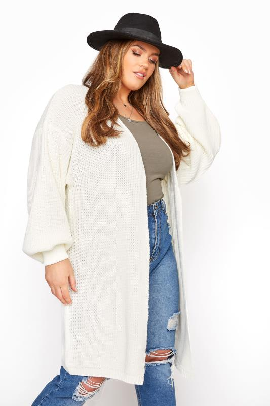 Cream Oversized Balloon Sleeve Knitted Cardigan