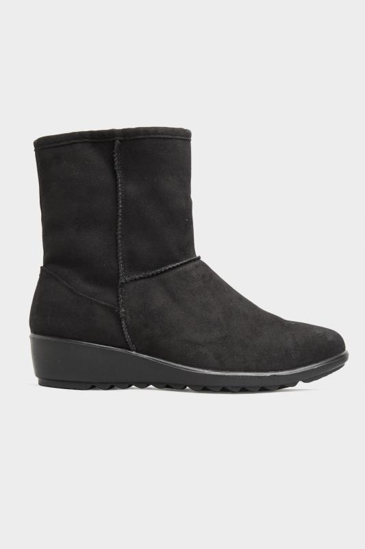 Black Vegan Suede Wedge Heel Boots In Extra Wide Fit_A.jpg