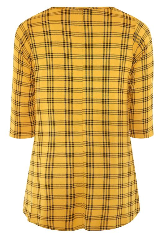 LIMITED COLLECTION Mustard Yellow Check Print Swing Top_BK.jpg