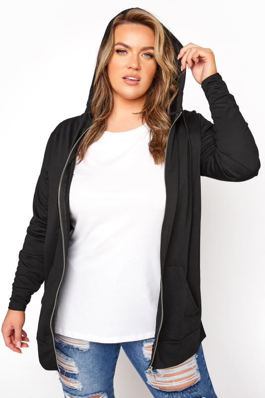 Plus Size  Black Zip Through Hoodie