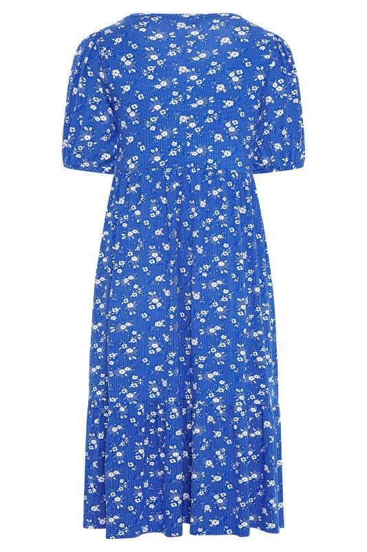 Blue Floral Puff Sleeve Midaxi Dress_BK.jpg