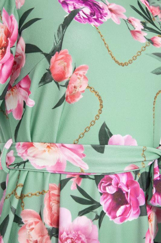 YOURS LONDON Green Floral Chain Print Puff Sleeve Skater Dress_S.jpg