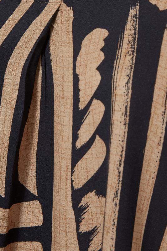 Mocha Brown Abstract V-Neck Pleated Front Shirt_S.jpg
