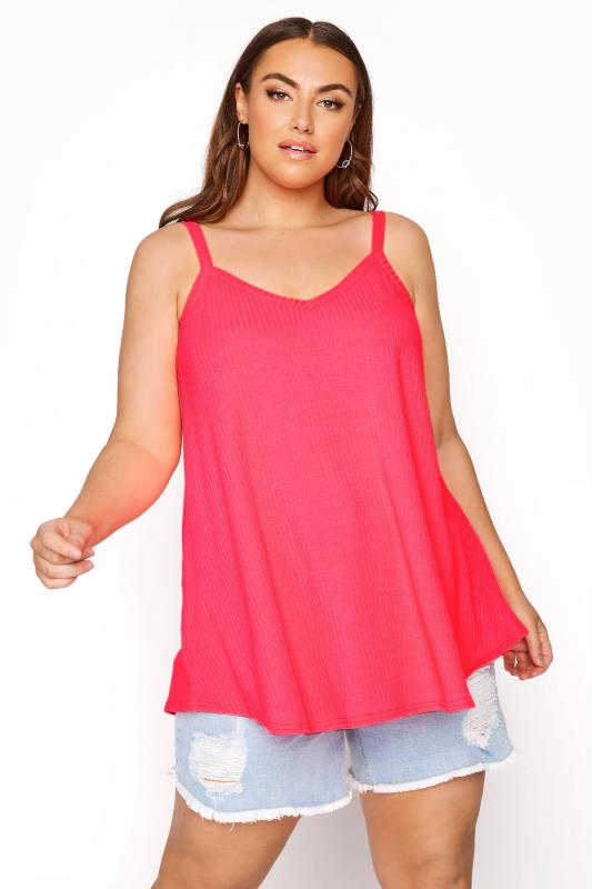 Plus Size  LIMITED COLLECTION Neon Pink Rib Swing Cami Top