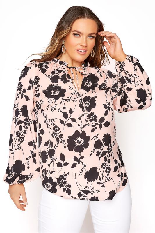 Plus Size  Pink Floral Tie Frill Neck Blouse