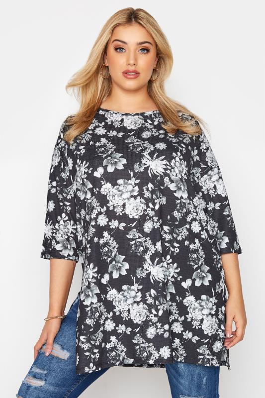 Grande Taille Black Floral Print Side Split Tunic