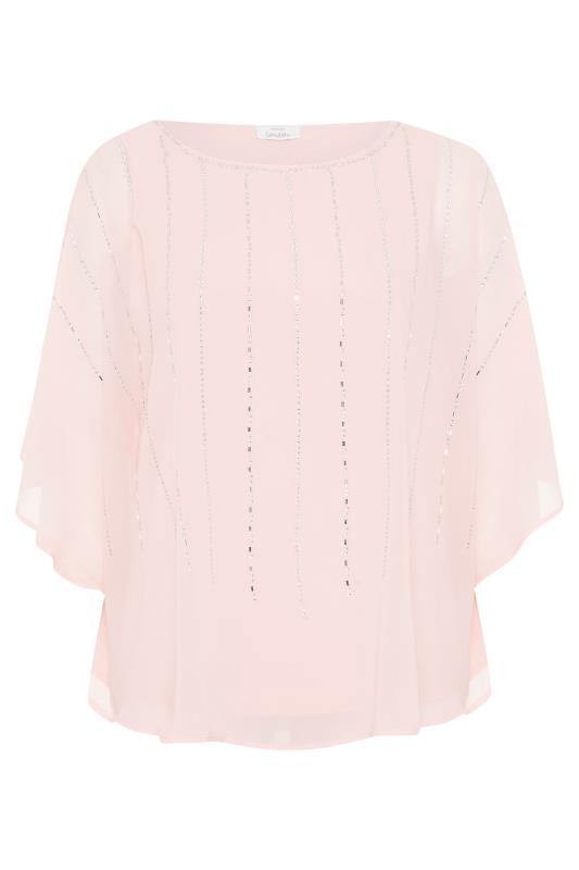 YOURS LONDON Pale Pink Diamante Cape Top_F.jpg