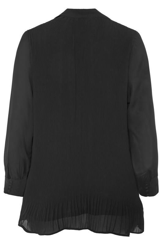 YOURS LONDON Black Pleated Bow Tunic