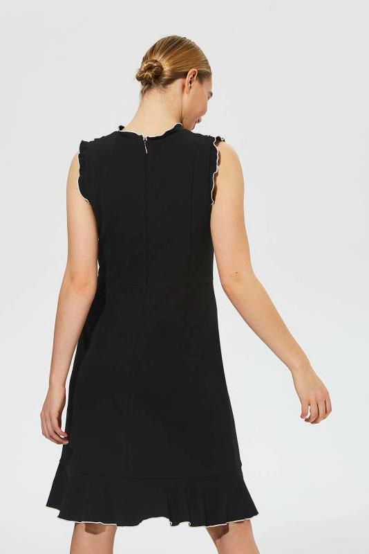 Karl Lagerfeld Paris Fluted Hem Ruffle Neck Dress