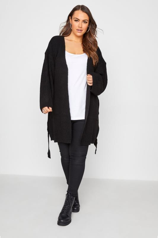 Black Wide Sleeve Belted Cardigan_B.jpg