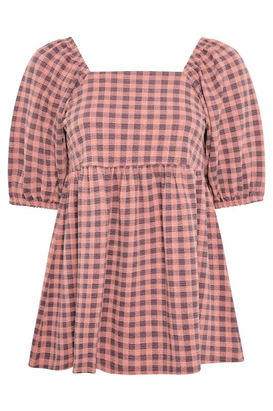 LIMITED COLLECTION Pink Gingham Square Neck Smock Top_F.jpg