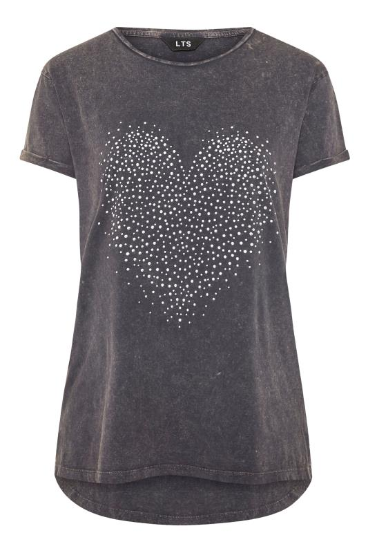 LTS Grey Acid Wash Heart Stud Slogan T-Shirt_F.jpg