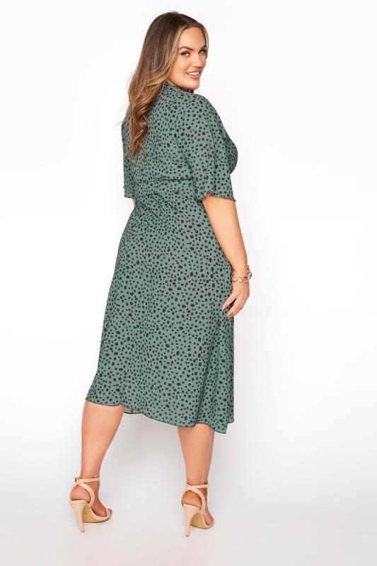 YOURS LONDON Green Dalmatian Midi Wrap Dress_C.jpg