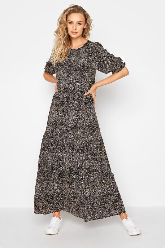 Tall  LTS Black Speckled Tiered Midaxi Dress