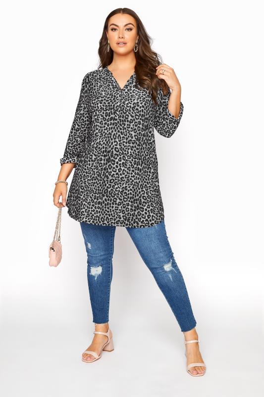 Grey Leopard Print Grandad Collar Shirt