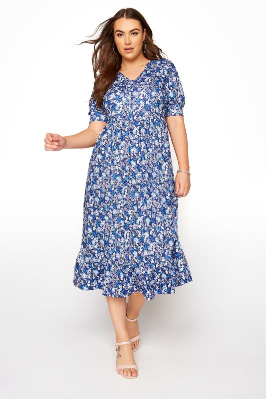 Plus Size  YOURS LONDON Blue Ditsy Tiered Dress