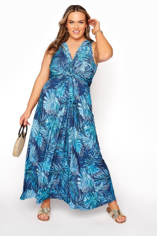 Großen Größen  YOURS LONDON Blue Tropical Knot Front Maxi Dress