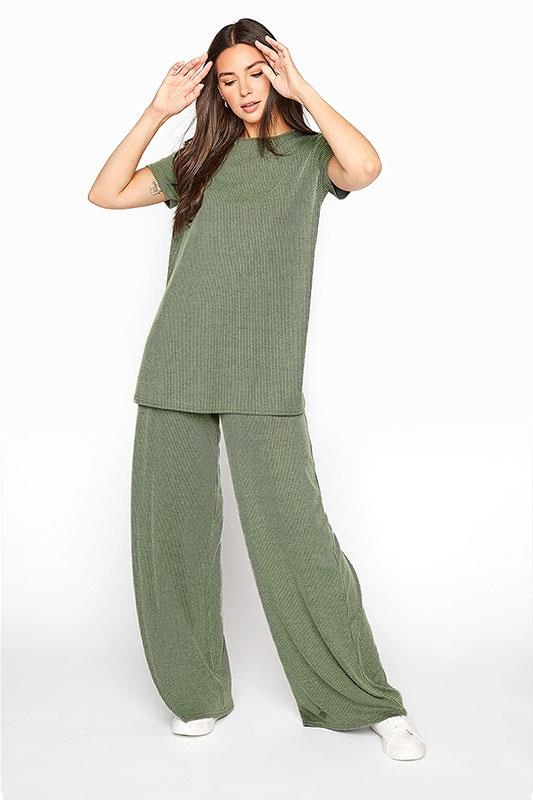 LTS Green Two-Tone Ribbed Wide Leg Trousers