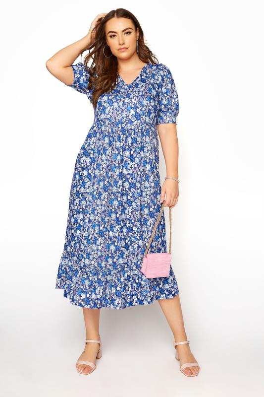 YOURS LONDON Blue Ditsy Tiered Dress_B.jpg