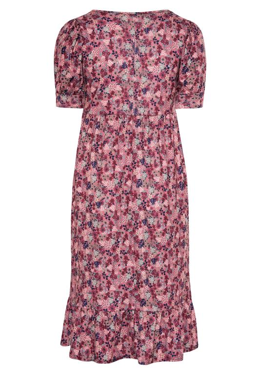 YOURS LONDON Pink Ditsy Tiered Dress_BK.jpg