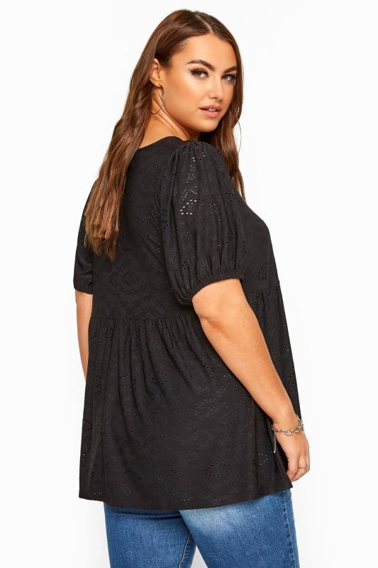 Black Embroidered Puff Sleeve Smock Top