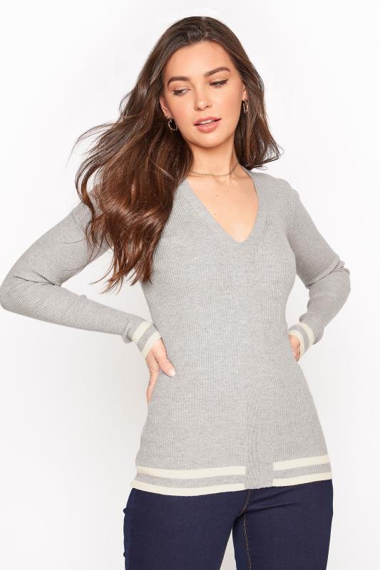 Grey Marl Stripe Hem Ribbed Sweater