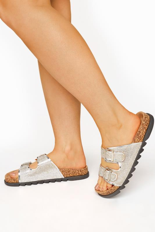 Plus Size  Silver Sparkle Footbed Sandal In Wide Fit