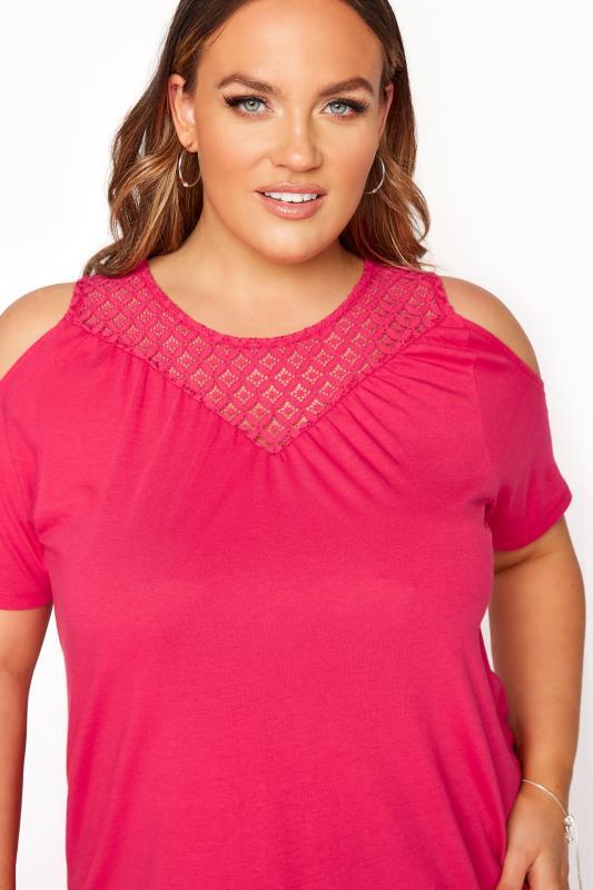 Hot Pink Lace Cold Shoulder Top_D.jpg