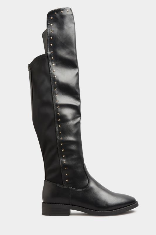 LIMITED COLLECTION Black PU Stud Over The Knee Boots In Extra Wide Fit_A.jpg