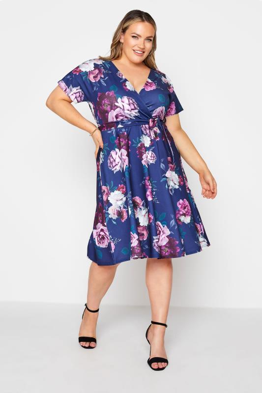 YOURS LONDON Blue Floral Rose Skater Dress_A.jpg