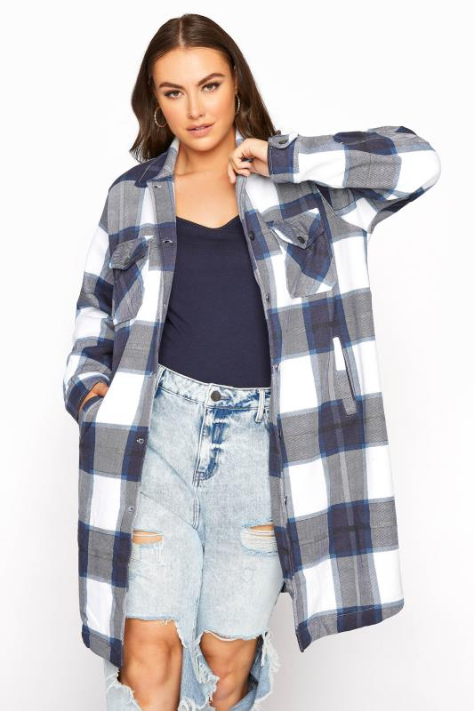 Plus Size  Navy Checked Shacket