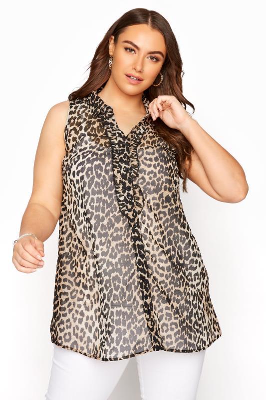 Plus Size  Leopard Print Frill Front Sleeveless Shirt