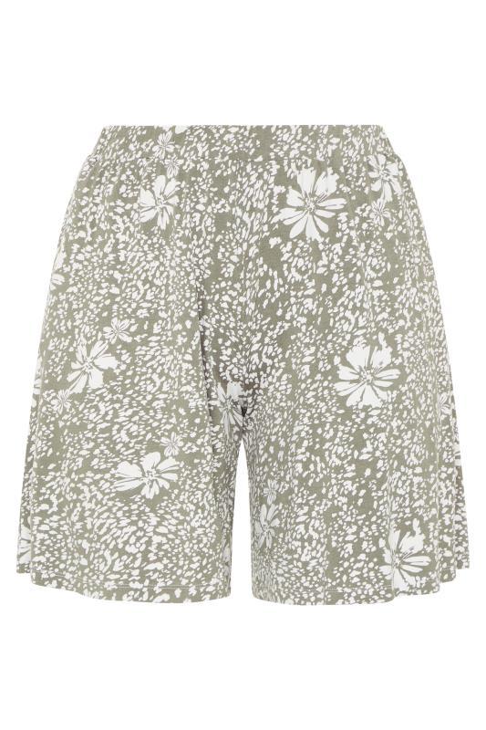 Sage Green Floral Animal Print Jersey Harem Shorts_F.jpg