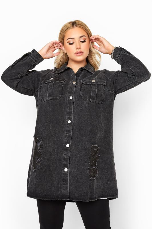 Plus Size  LIMITED COLLECTION Black Washed Distressed Longline Denim Shacket