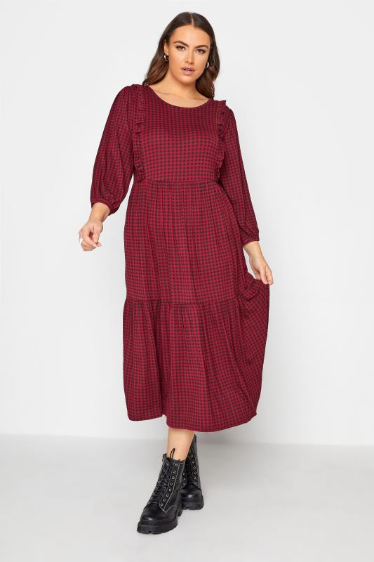 Plus Size  Wine Check Tiered Midaxi Dress