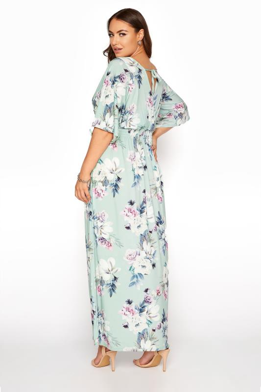 YOURS LONDON Green Floral Wrap Midaxi Dress_C.jpg