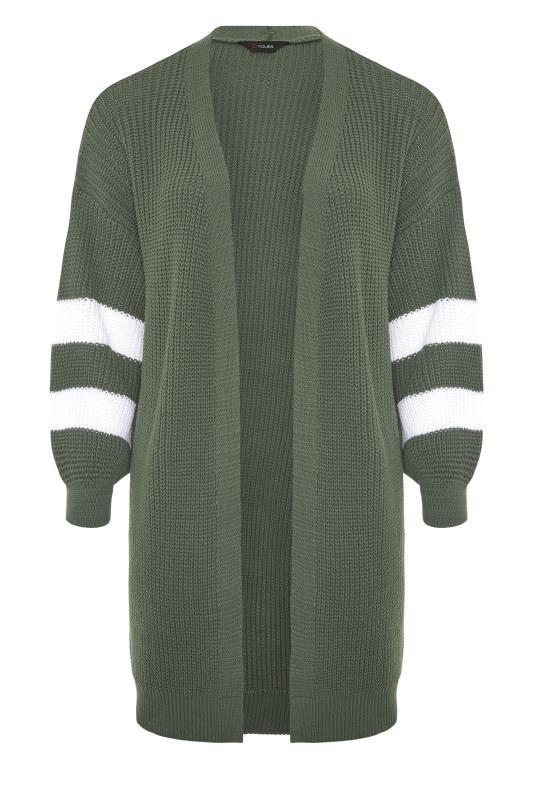 Khaki Varsity Stripes Knitted Cardigan_F.jpg