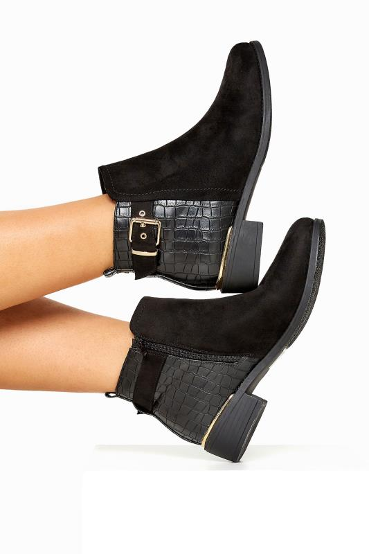 Black Croc Effect Buckle Chelsea Boots In Extra Wide Fit_A.jpg