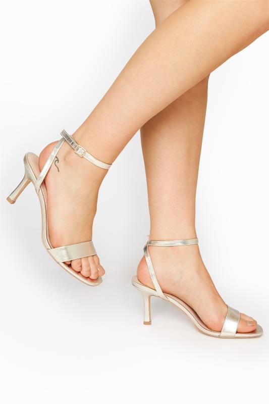 Gold Skinny Two Part Heel Sandals