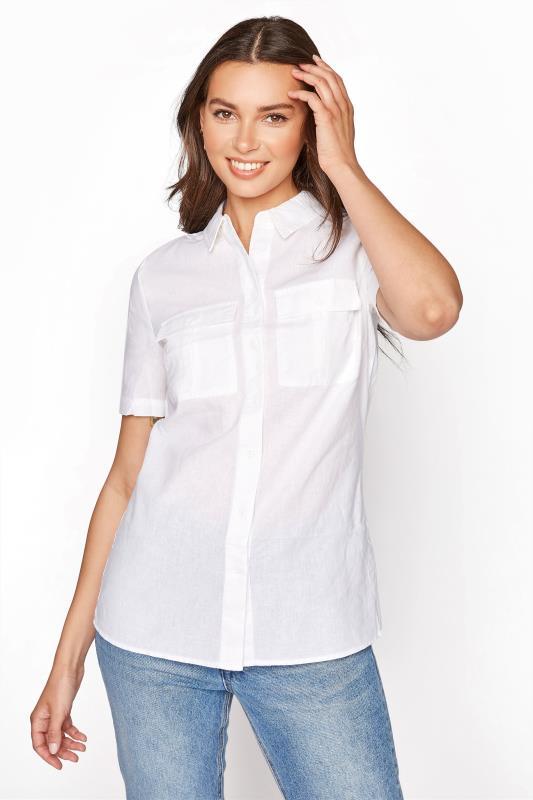 White Utility Look Linen Shirt