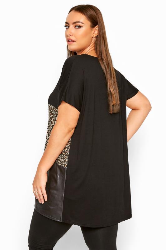 Black Animal Print Leather Look Colour Block Top