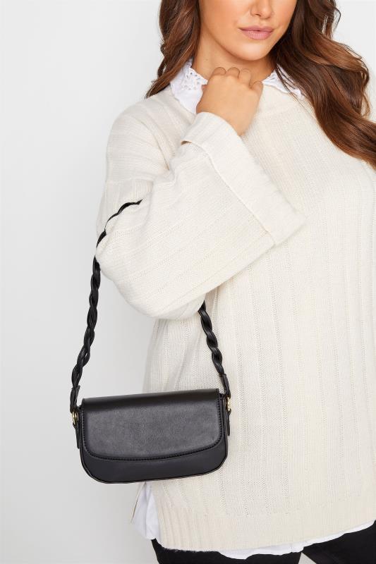 Black Twisted Strap Shoulder Bag