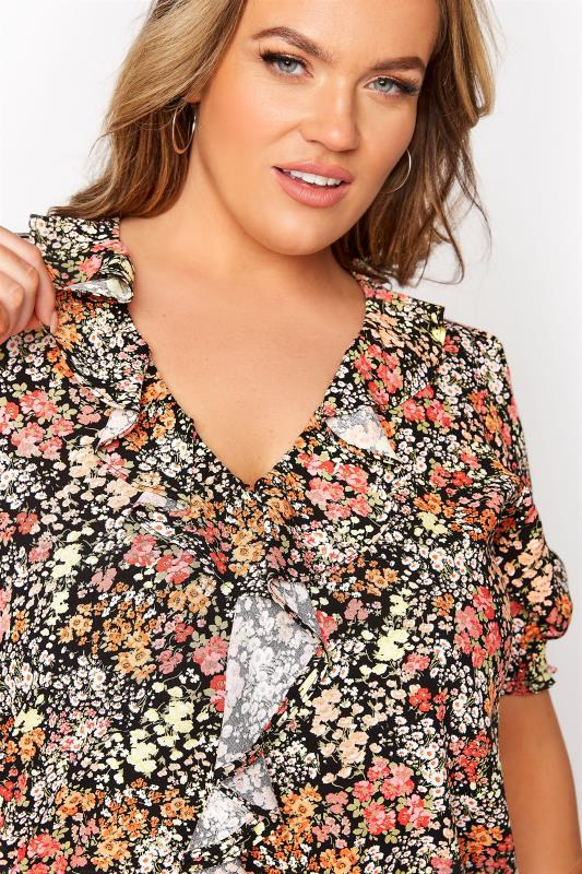YOURS LONDON Black Floral Shirred Frill Top_D.jpg