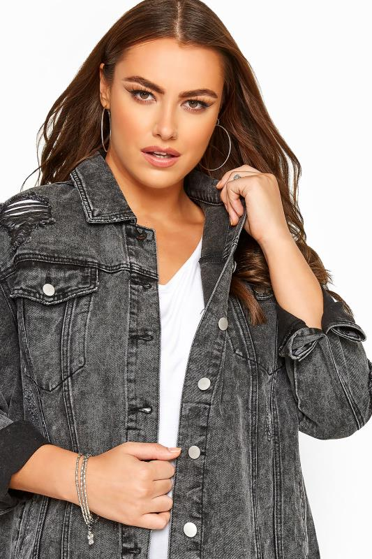 Grey Washed Distressed Oversized Denim Jacket