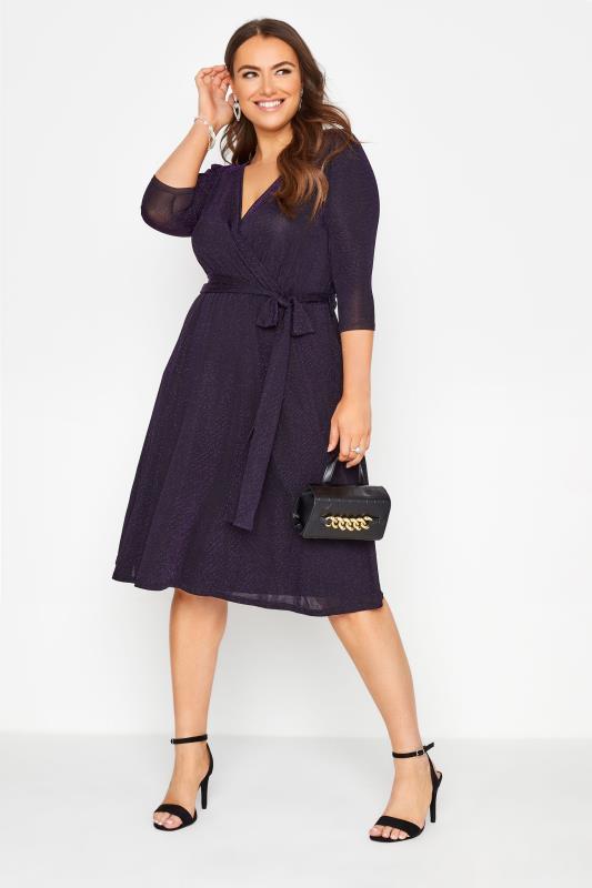 Großen Größen  YOURS LONDON Purple Glitter Wrap Dress