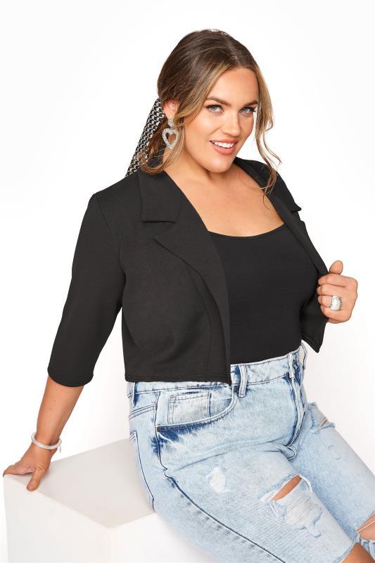 Plus Size  Black Cropped Blazer