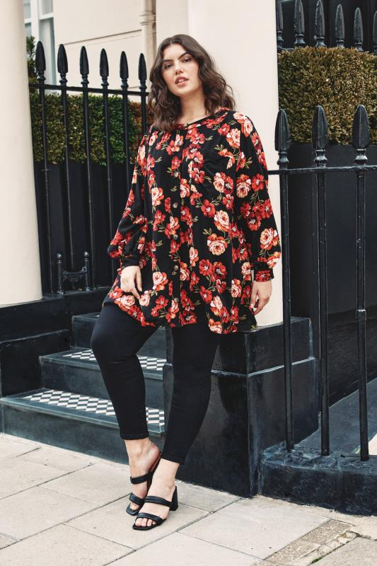 THE LIMITED EDIT Black Floral Smock Tiered Shirt_L1.jpg