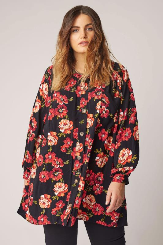 THE LIMITED EDIT Black Floral Smock Tiered Shirt_A.jpg
