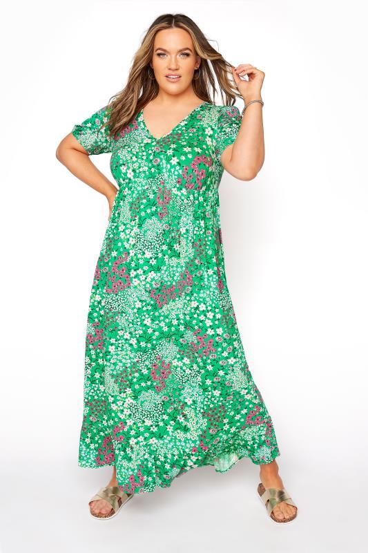 YOURS LONDON Green Floral Jersey Tea Dress_A.jpg
