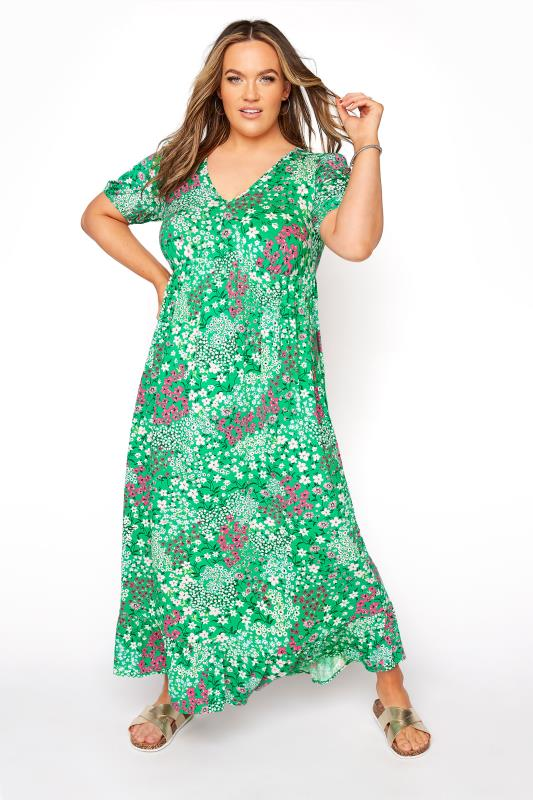 Grande Taille YOURS LONDON Green Floral Jersey Tea Dress